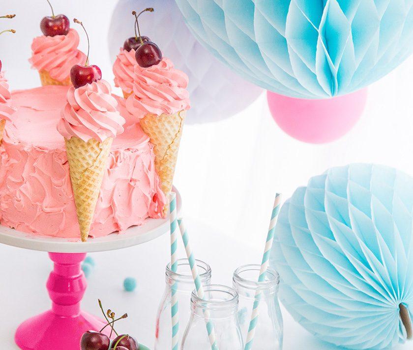 Strawberries & Cream Party Cake
