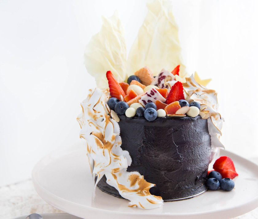 Blackout Buttercream Cake with Meringue